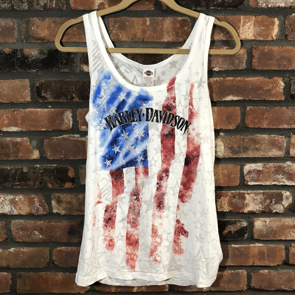 Harley Davidson Womens L Garden State Distressed American Flag Tank Top Bling Fashion Clothing Shoes Accessories Wom Tank Tops American Flag Tank Top Tops