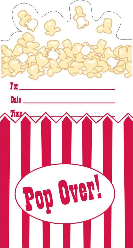 Popcorn Party Invitations, Sleepover Party, Movie Party, Cinema ...