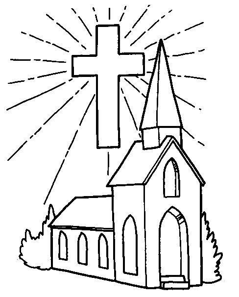 Image detail for -Church and Cross Coloring Page   Church ...