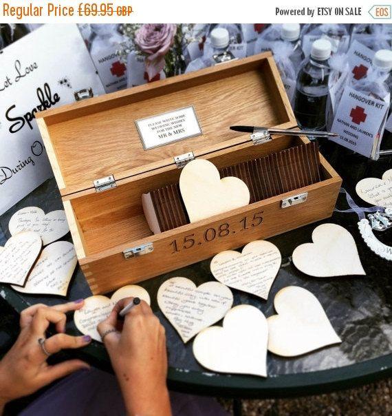 ON SALE Wedding guest book Alternative Wooden Wedding Guest Book Personalised Custom Solid Oak Box. Wedding Gift