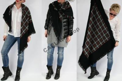 Chusta Duza Szal Krata Krate Czarna Zielen Khaki 5864130819 Oficjalne Archiwum Allegro Women S Top Fashion Tops