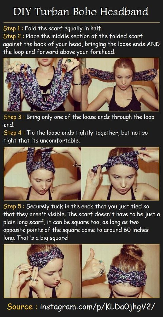 b90ff393745 Turban boho headband Tutorial   DIY Home Ideas