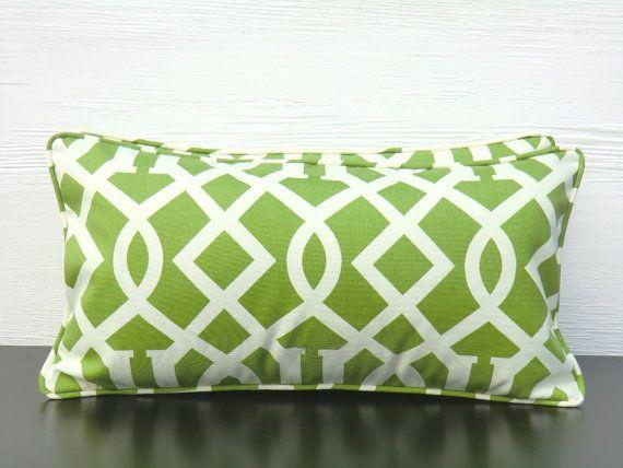 green outdoor lumbar pillow cover 21x11