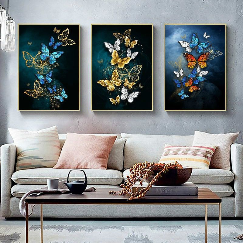 Canvas Painting Butterfly Canvas Wall Art Painting Nordic Abstract Home Wall Pictures For Living Room Triple Color Butterfly Canvas Wall Art Minimalist Wall Art Wall Canvas Canvas prints for living room