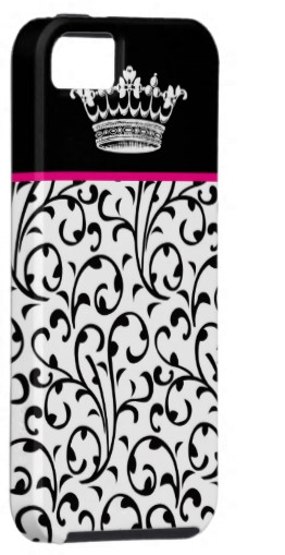 princess black, pink and white iphone 5 case