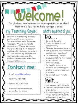 Editable Student Teacher Intern Welcome Letter   School resources