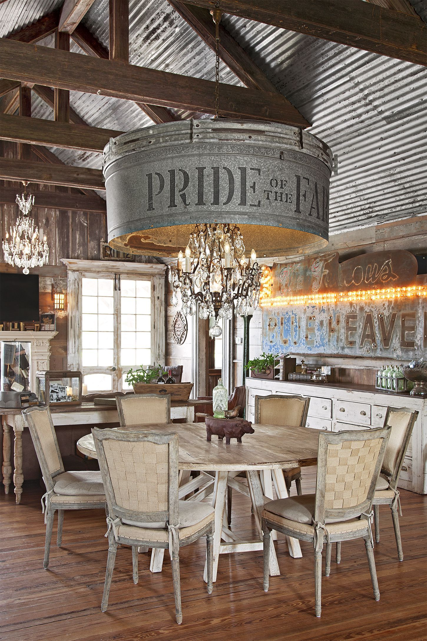 This Rustic Farmhouse Has the Most Incredible Chandelier