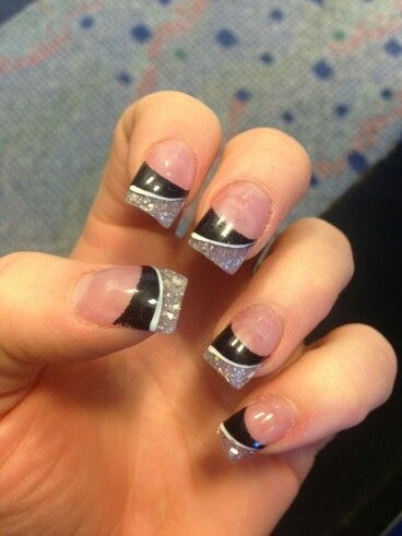 black and silver glitter tips acrylic nails  acrylic nail