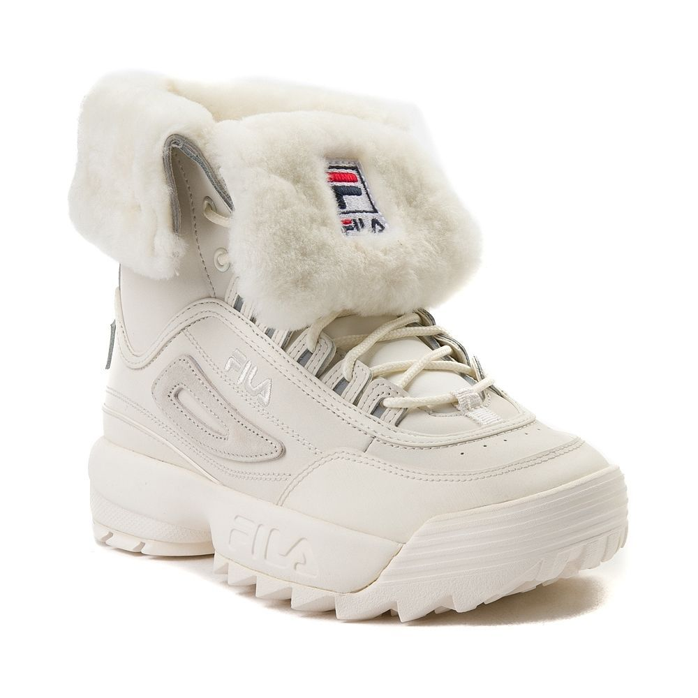 f882d7519c97 Womens Fila Disruptor Shearling Athletic Shoe - Beige - 452060