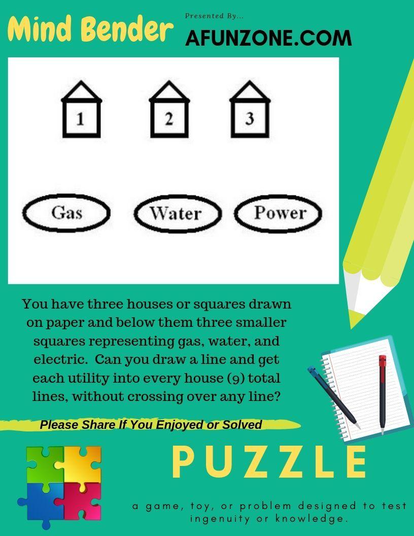 Mind Bender Utilities Puzzle Mind Benders Logic Puzzles Brain Teasers Brain Teasers
