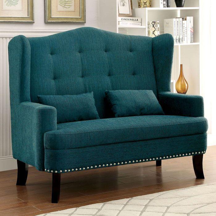 Teal Lakewood Wingback Loveseat Chair