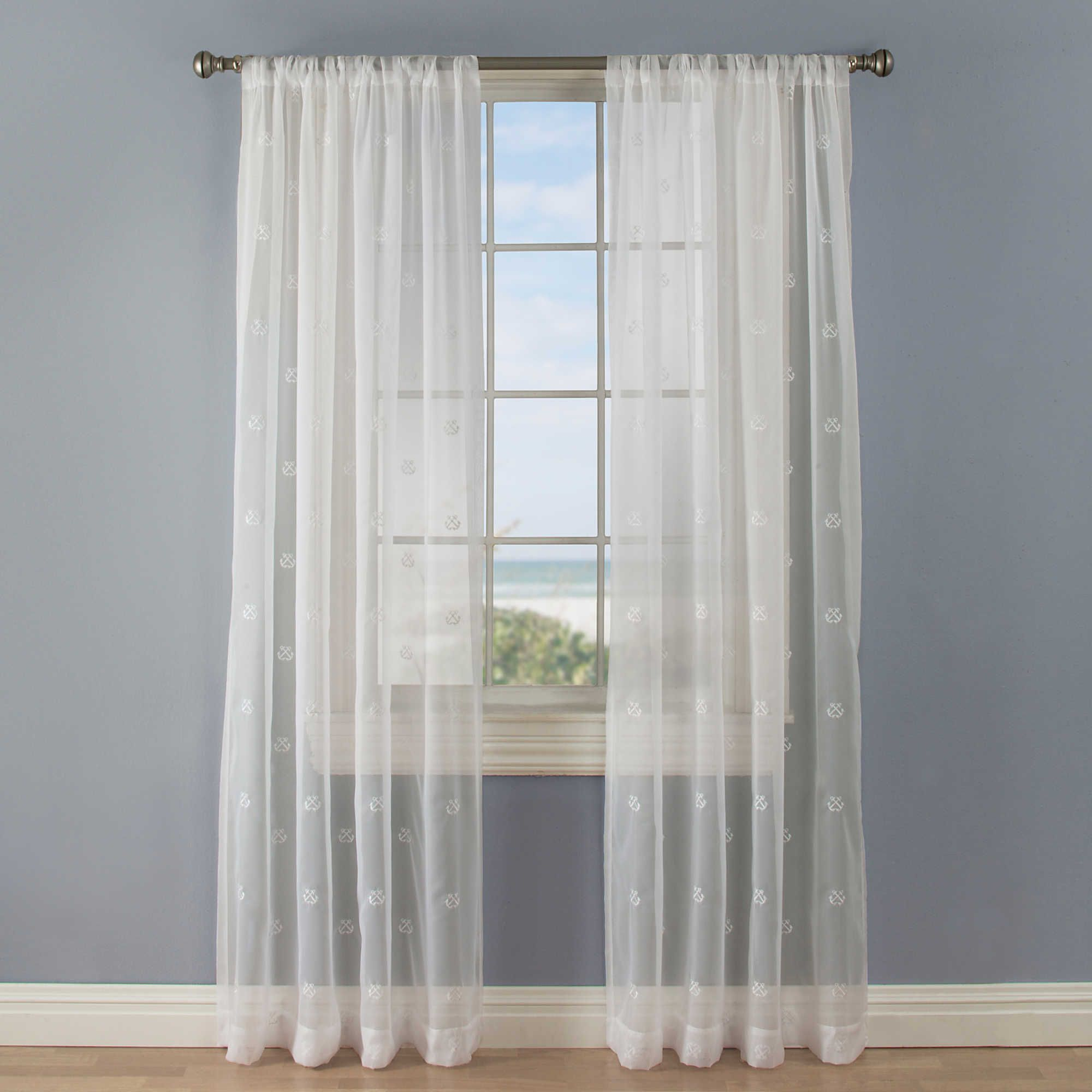 Crossed Anchors Rod Pocket Sheer Window Curtain Panel In White Panel Curtains