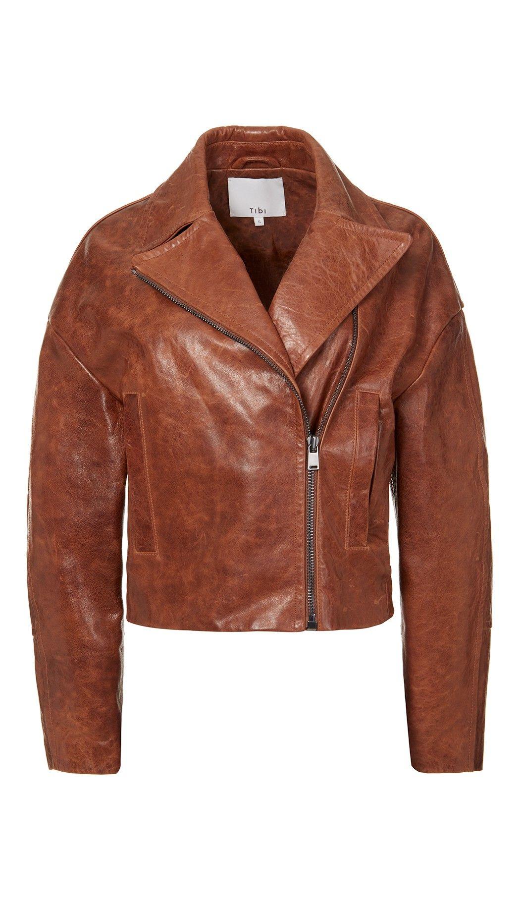 Cognac Oversized Leather Moto Jacket Real leather jacket