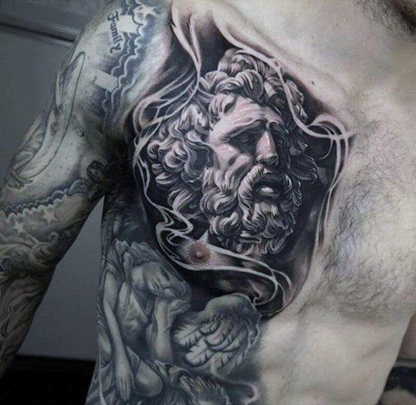 Top 79 Zeus Tattoo Ideas 2020 Inspiration Guide Chest Tattoo Men Tattoos For Guys Cool Chest Tattoos