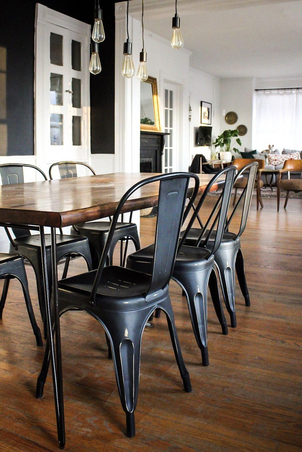 Modern Vintage Victorian House Tour Painted Black Dining Room Black Metal Chairs Wood Slab In 2020 Metal Dining Chairs Black Metal Dining Chairs Black Dining Room