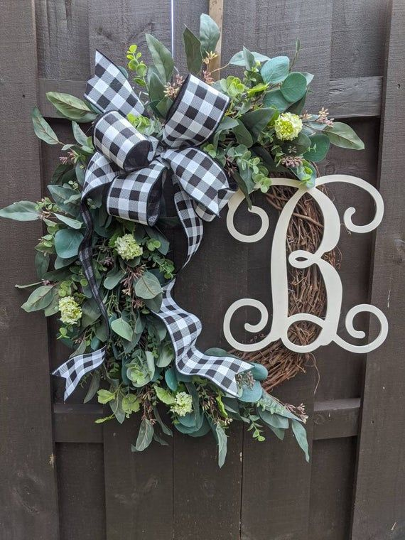 Photo of Eucalyptus Wreath Personalized Initial Wreath Wedding Decor Farmhouse Wreath Rustic Wreath Buffalo C