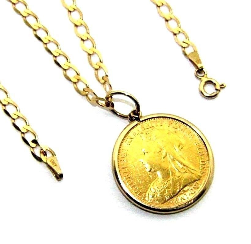 118a64f4fb3e5 Unisex, gents/ladies 22ct gold full sovereign with a 9ct gold chain ...