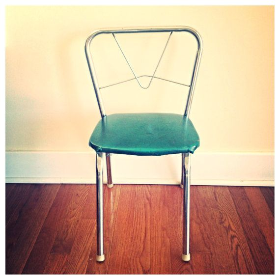 Vintage childs chair chrome and green / vintage by MellaFina, $25.00