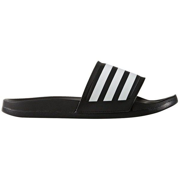 Adidas Adilette Three-Striped Slides ($35) ❤ liked on Polyvore featuring shoes, cushioned shoes, adidas footwear, adidas shoes, pull on shoes and slip-on shoes