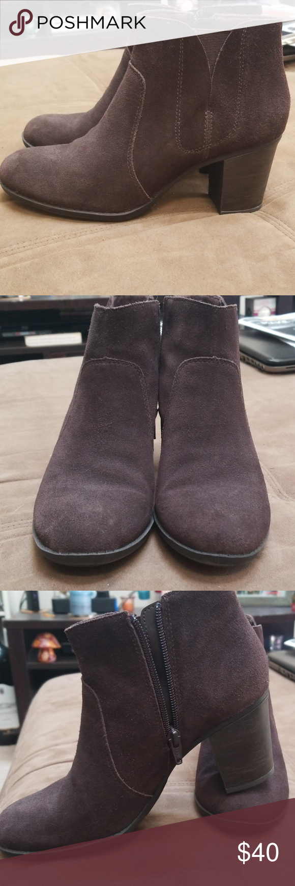 Clark's brown suede ankle boots Worn one time, brown Clark's ankle boots.  Super cute with skinny jeans. Clarks Shoes Ankle Boots & Booties #skinnyjeansandankleboots