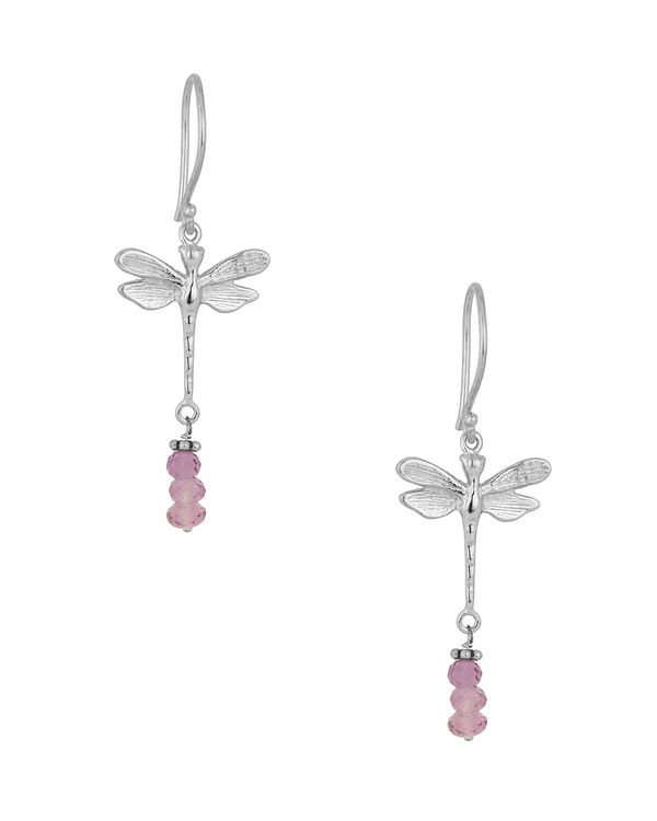 Dragonfly Earrings With Violet Beads