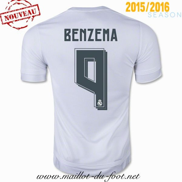 personnaliser Maillot de foot Real Madrid Benzema 9 Domicile 2015 2016 chine
