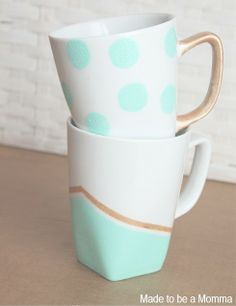 Diy Painted Mugs #dishware PIN FOR LATER -- easily design your own dish ware to match any decor. #dishware