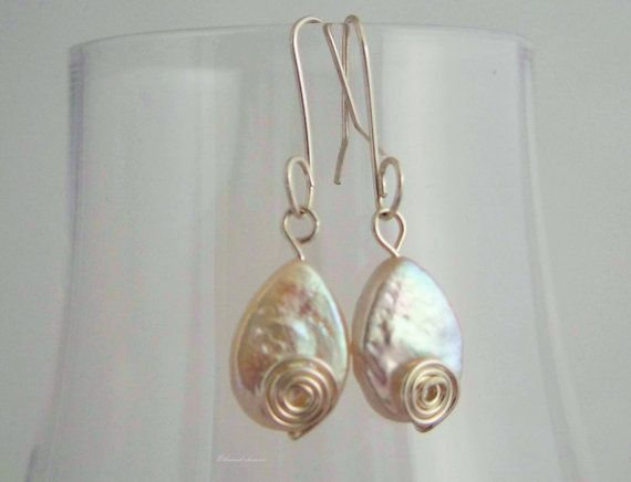 Ivory pearl drop earrings / tear drop wedding by Ethereal Charms Jewellery