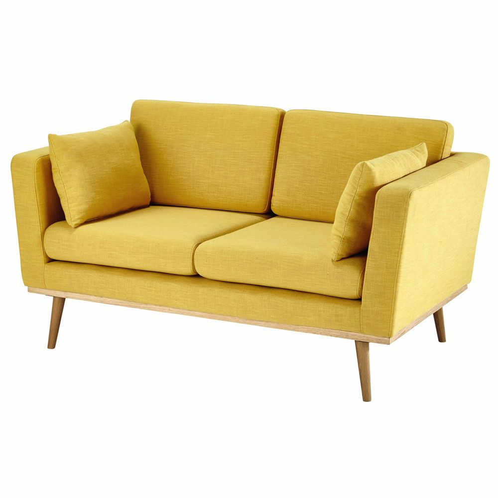 Canape 2 Places Jaune 2 Seater Sofa Yellow Sofa Sofa