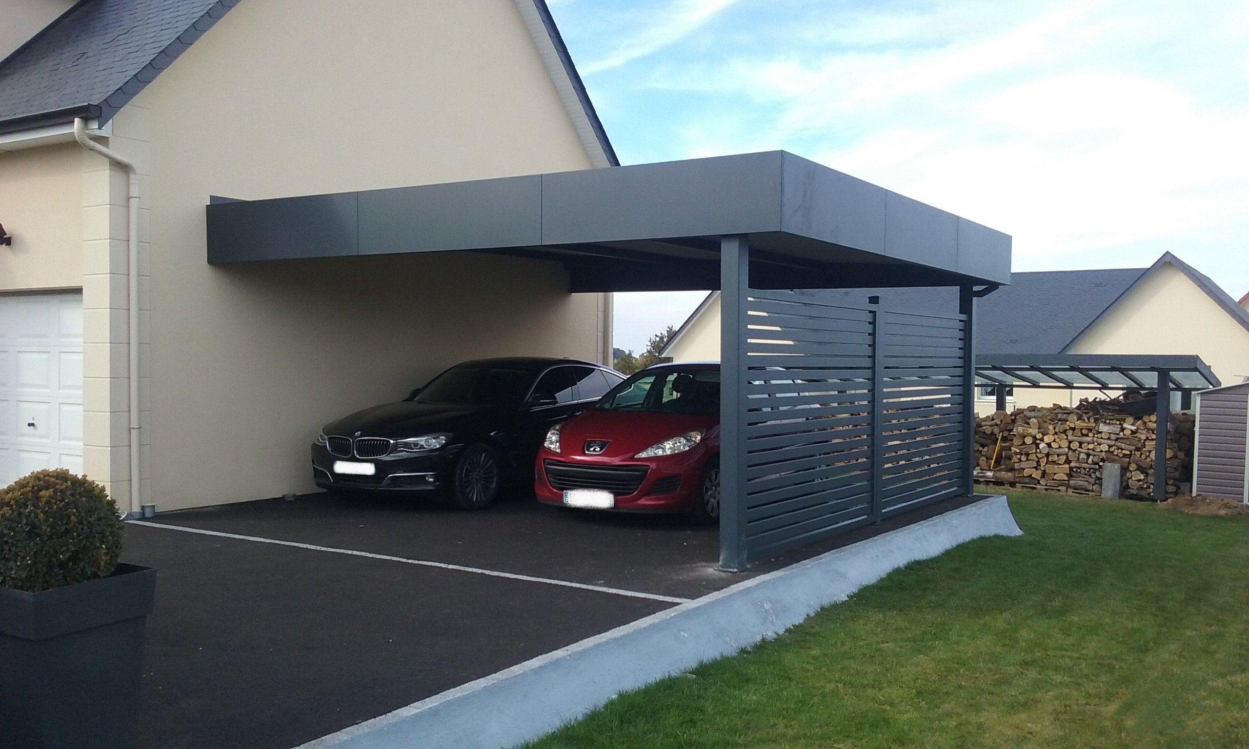 Carport aluminium, préau, abri à deux voitures, adossé à