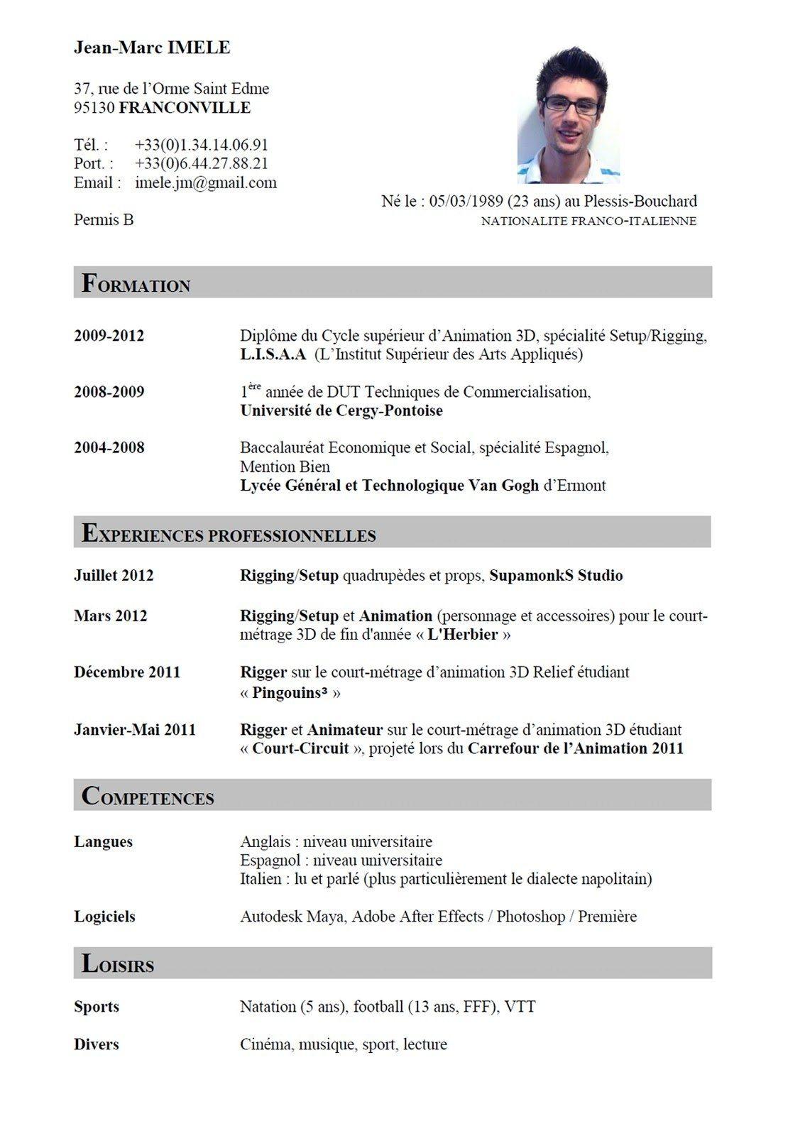 image exemple de cv en francais word gratuit lettre de presentation