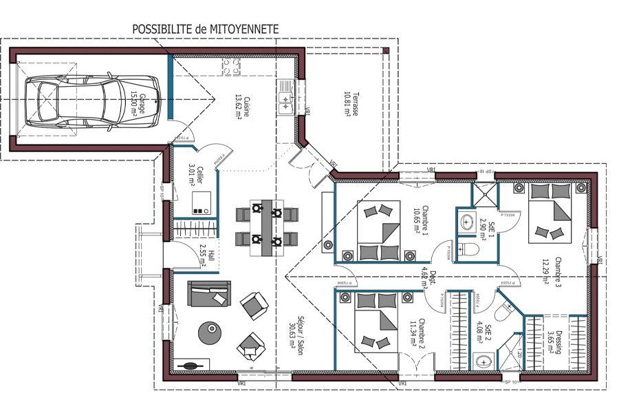 Modele Sweet Plan Maison Mitoyenne 3 Chambres Disponible En 91 92 Et 99m Selon Disposition Et Mitoyennete Maison Mca Plan Maison Plan Maison 3 Chambres