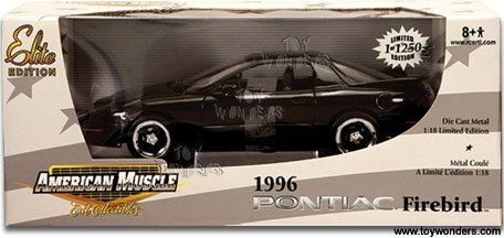 #33989M Ertl Elite Edition 1996 Pontiac Firebird,Black 1/18 Diecast by Ertl. $49.99. Detailed Interior and Chassis. Opening Doors and Hood. Elite Edition,Limited Edition 1 of 1250. steerable Front Wheels. 1996 Pontiac Firebird 1/18 Scale Diecast .Made by Ertl,Elite Edition.Marked #33989M,2005. Brand New in Factory Sealed Box.
