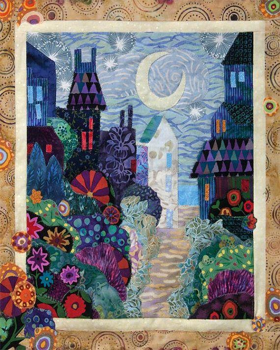 Moonlit City Garden Art Quilt by Karen Gillis Taylor | Garden art ... : karen quilt - Adamdwight.com