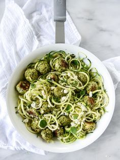 Zucchini Noodles with Mini Chicken Feta and Spinach Meatballs