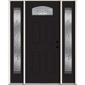 Reliabilt Hampton 1 4 Lite Decorative Glass Left Hand Inswing Peppercorn Painted Fiberglass Prehung Entry Door With Side In 2019 Entry Doors Entry Door With Sidelights Doors