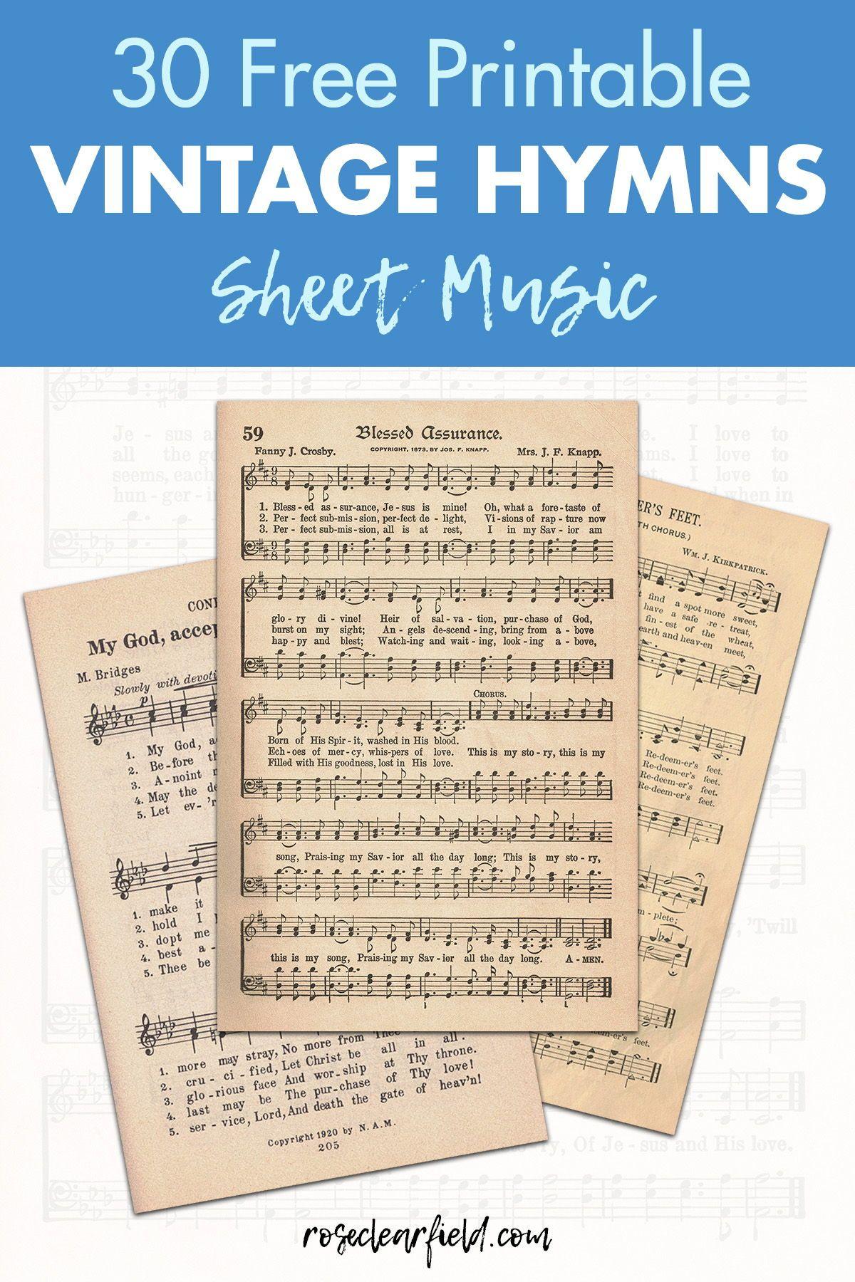 FREE Printable Vintage Hymns Sheet Music