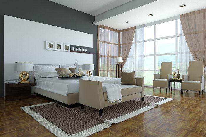 schlafzimmermöbel elegant beige teppich sessel gardinen - gardine f r schlafzimmer