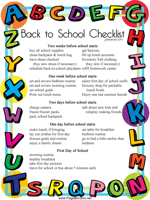MomS Back To School Checklist Free Printable  School Checklist