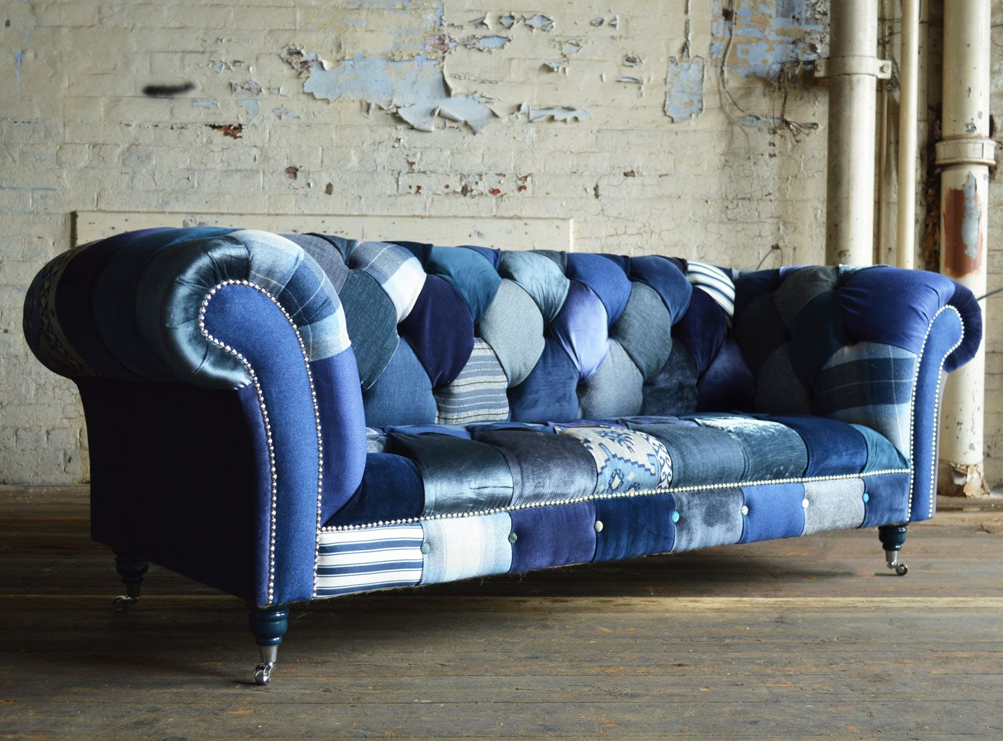 This Navy Patchwork Chesterfield Sofa Is Shown In A 3 Seater Combination Available Now