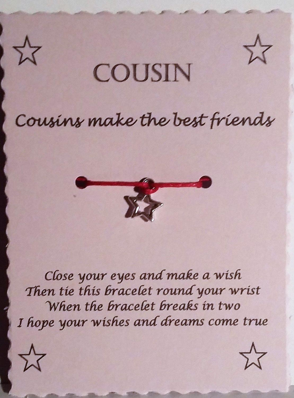 Gift For Cousin, Cousin Gift, Wish Bracelet, Friendship Bracelet, Charm  Bracelet,