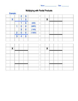 This is a template to use for Partial Product Multiplication. You ...