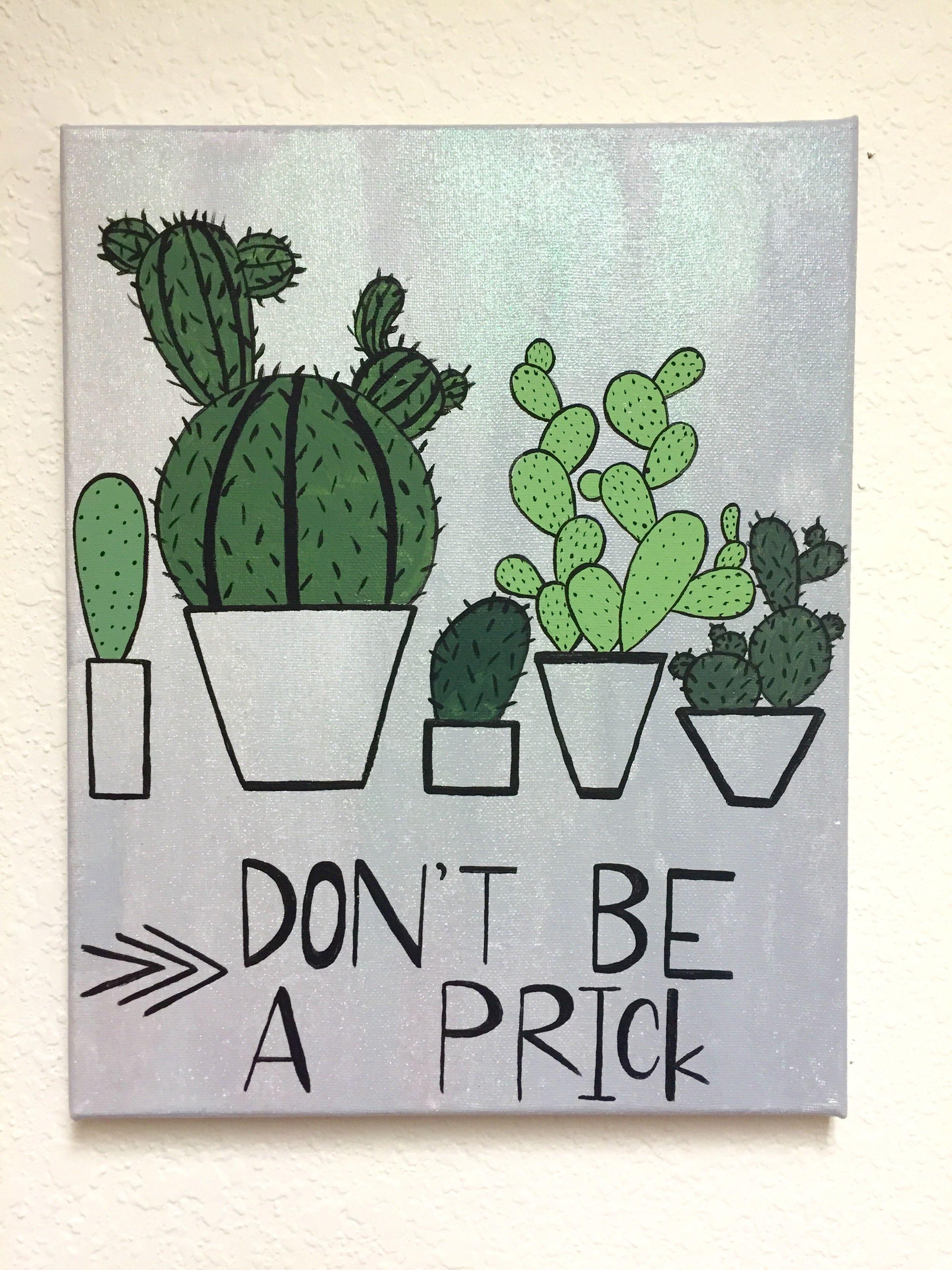 Cactus diy canvas easy canvas painting diy canvas art