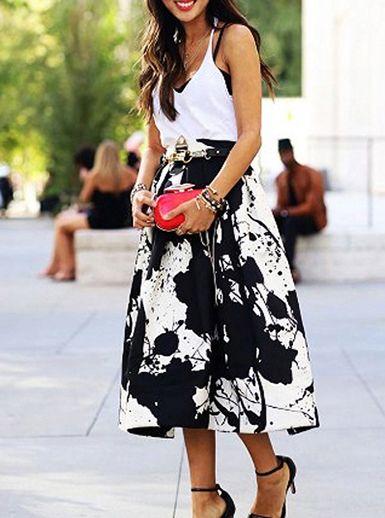 3416078f3d0 Women s High Waist Skirt - Paint Splotches Design   Shin-Length ...