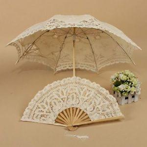 Lady Vintage Handmade Retro Parasol Lace Floding Hand Fan Bridal Wedding Party