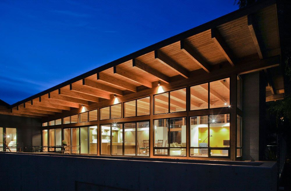 estructura en madera de casa de un piso arquitectura