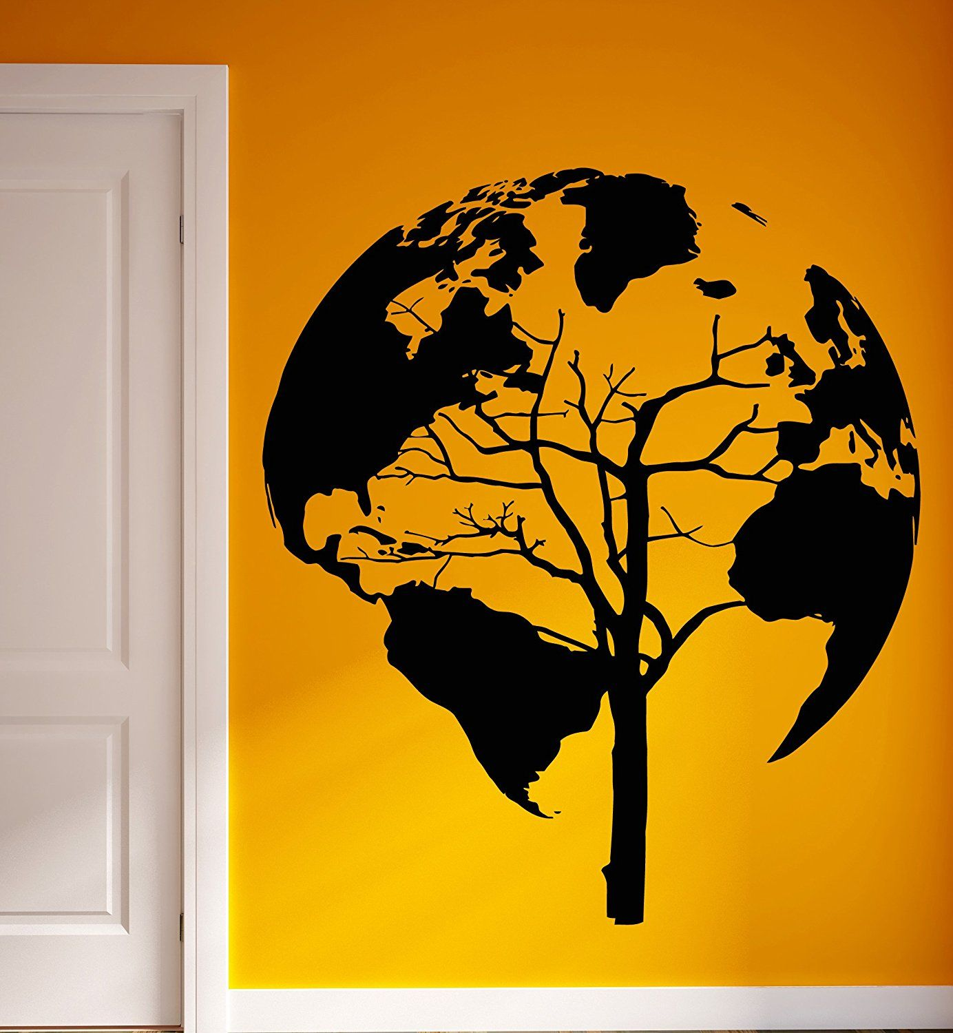 Wall Vinyl Stickers World Map Earth Tree Unusual Decor For Living ...