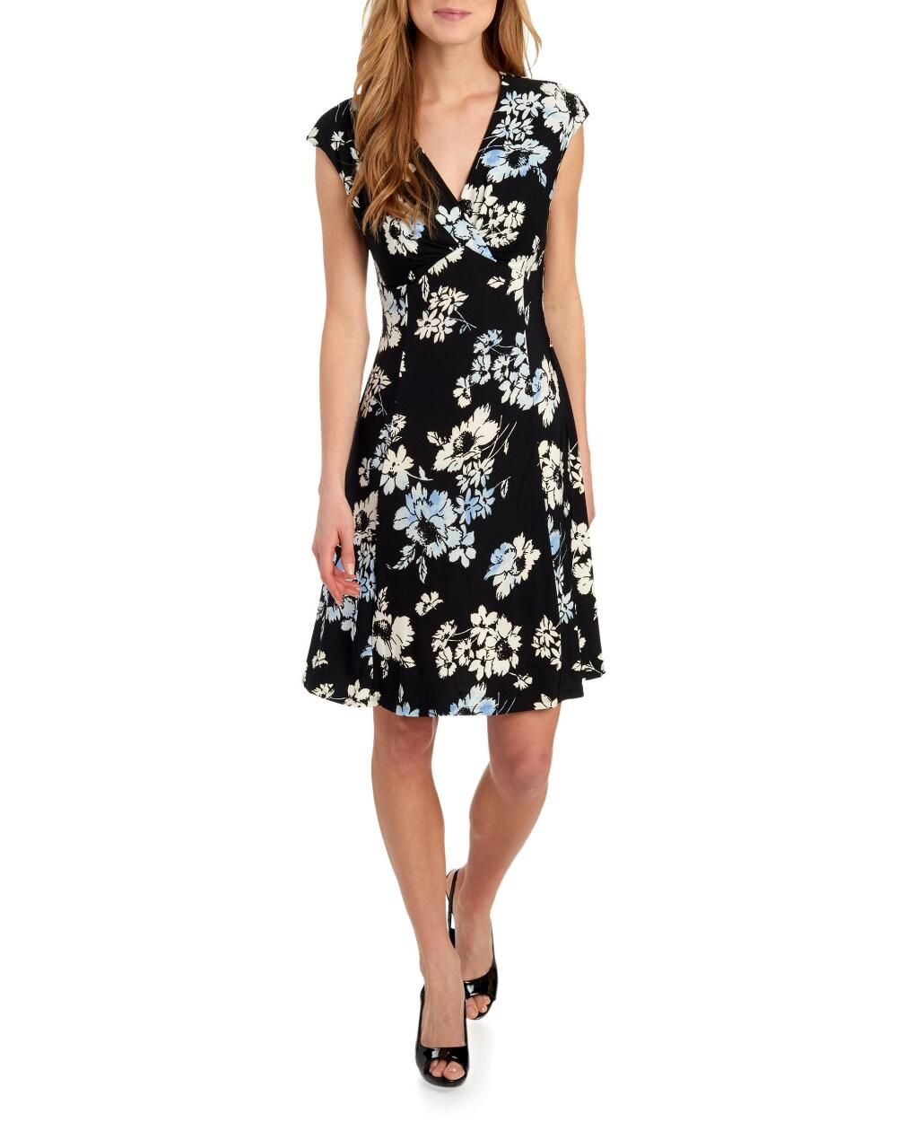 Enzo Cap Sleeve Floral Fit And Flare Dress Dresses Clothing Women Stein Mart Fit And Flare Dress Clothes For Women Short Sleeve Dresses [ 1250 x 1000 Pixel ]
