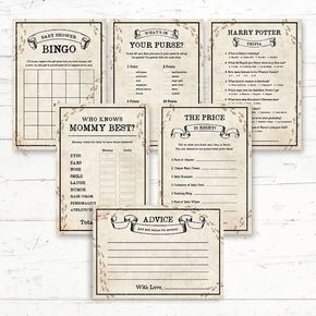 Harry Potter Baby Shower Games Package   6 Games   Digital Printout    Instant Download