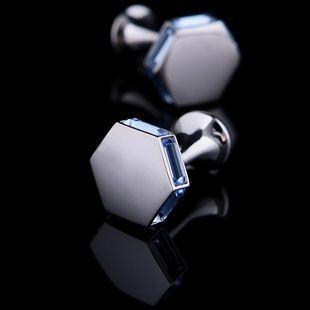 Blue Crystal Edged Cufflinks